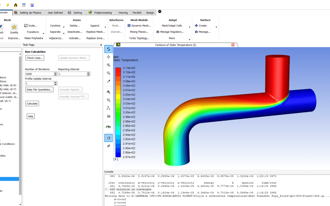 Ansys Fluent – Heat Transfer through a pipe