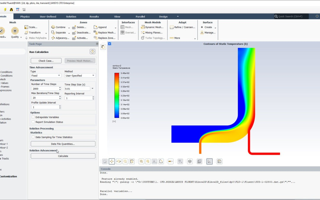 Ansys Fluent – Elbow 2D (Steady & Transient Simulation)