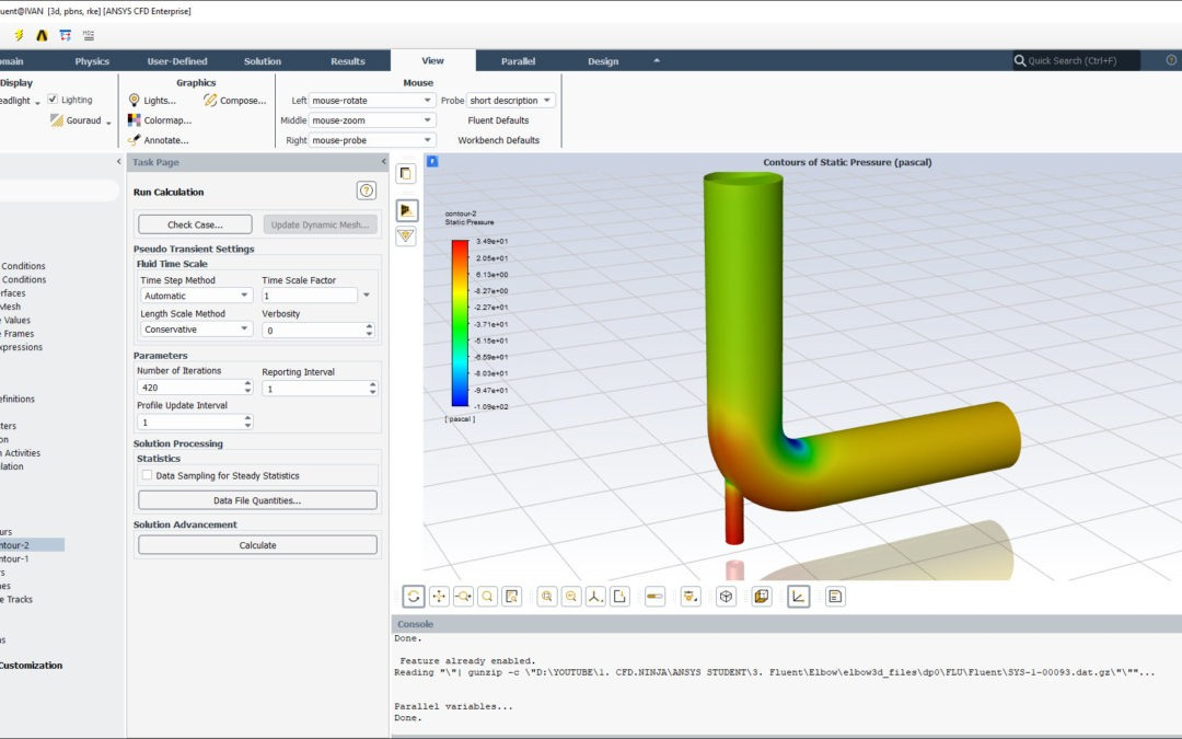 Ansys Fluent Tutorial | Elbow 3D Steady & Unsteady Simulation